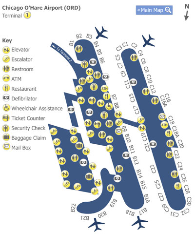 Chicago OHare Airport ORD Terminal 1 Map Map of Terminal 1 at