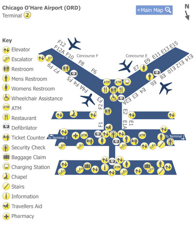 Chicago OHare Airport ORD Terminal 2 Map Map of Terminal 2 at
